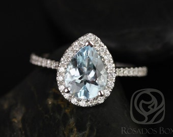 Rosados Box Tabitha 9x7mm 14kt White Gold Pear Aquamarine and Diamonds Halo Engagement Ring