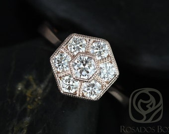 Mosaic Grande 14kt Rose Gold WITH Milgrain Diamonds Cluster Ring (Available in other metals)