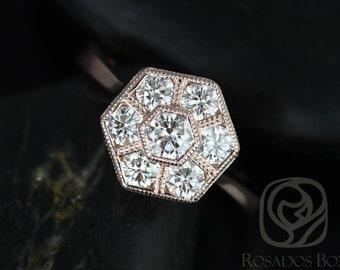 Rosados Box Mosaic Grande 14kt Rose Gold WITH Milgrain Diamonds Cluster Ring