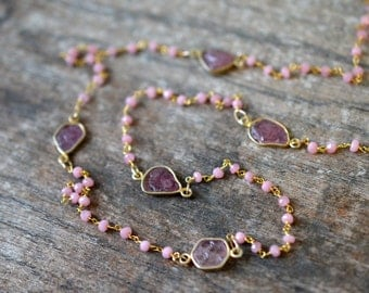 Delicate rosary chain necklace Rough pink sapphire station necklace Rose chalcedony beaded chain Raw gemstone neckace Single double strand