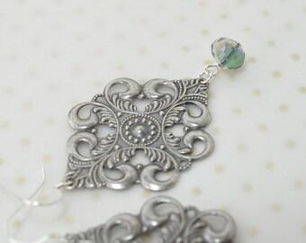 Large silver filigree earrings Medieval jewelry Grey glass dangle drop earrings Antiqued silver chandelier earrings Lightweight earrings