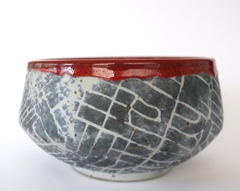 Black and Red Angled Map Bowl