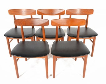Set of Five Danish Mid Century Modern Drylund Teak Dining Chairs
