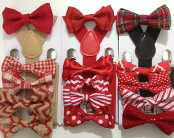 Suspender Bow tie Set Red Bowties toddler Suspender set Gingham Red Striped Chevron Neckties Newborn Photo Props Red and White Wedding Ring