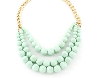 Sweet Gorgeous Gold tone Mint Green/Light Pink Round Beads Statement Necklace,A16