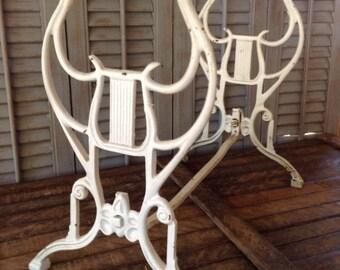 Heavy Iron Harp Stool Legs |  Victorian Era | Antique Footstool Legs | Furniture Hardware | Salvaged Parts | musical decor | music theme