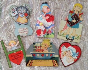 Vintage Valentines Little Girls Kitty Cat Bathtub Ladder School Cupid Paper Ephemera Hearts Romantic CVards