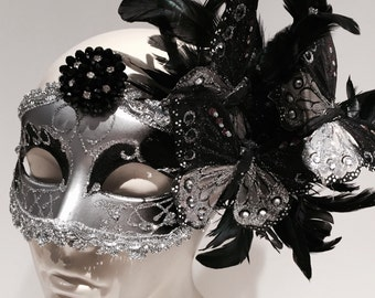 Mask- Black Feather Mask -Masquerade Mask- Costume party Mask- Butterfly Mask- Masquerade Ball- Mardi Gras Mask- Masked ball