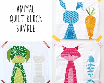 Cat Dog and Bunny quilt block bundle - animal quilt blocks - paper piecing pattern