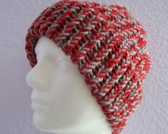 Red and Gray Knitted Ribbed Hat with Chunky Brim Cap Adult or Teen