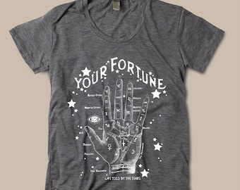 Womens FORTUNE Teller PALM Reader BOHO Bohemian Short Sleeve Slouchy T shirt Tee screen print Top Alternative Apparel S M L  More colors