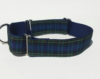 "1 1/2"" Wide Jacquard Martingale Collar, Green and Navy Plaid"