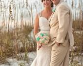Beach inspired Bridal Sola Bouquet Coastal Wedding Destination Wedding Beach Wedding Bouquet swarovski Crystals Starfish Jute Tallow Berries
