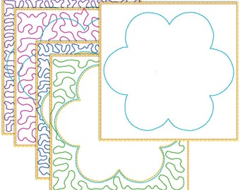 Quilt in the hoop 100 mm embroidery pattern - simple flower for 100 mm hoop
