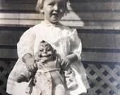 Billiken Doll Vintage Photo Girl & Teddy Bear Antique Found Photograph