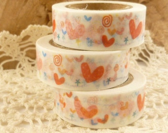 Red Hearts Valentines Washi Tape - MM968