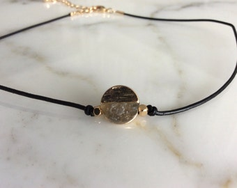 Leather Choker with Gold Disc Charm, Leather Choker
