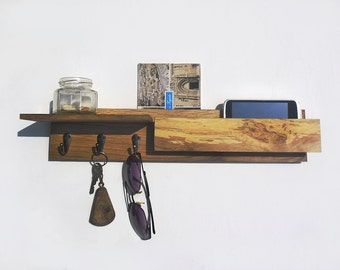 wooden key rack with mailbox, entryway organizer