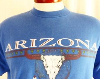 vintage 90s Arizona blue graphic t-shirt southwest native american dream catcher skull feather puff print logo tourist travel souvenir large