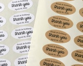 """Wedding favor labels, personalized thank you stickers.  Oval stickers, set of 27, 2"""" x 1"""".  Matte white or Kraft brown."""