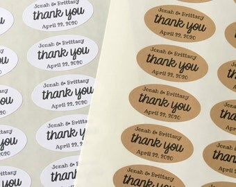 "Wedding favor labels, personalized thank you stickers.  Oval stickers, set of 27, 2"" x 1"".  Matte white or Kraft brown."