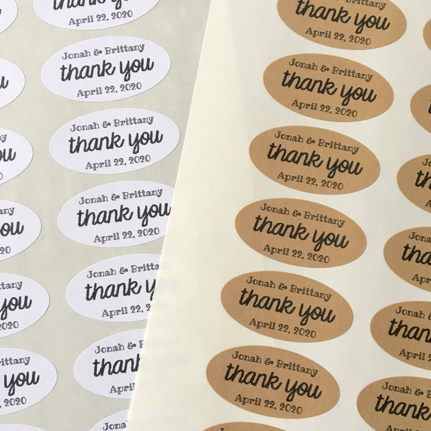 Wedding favor labels personalized thank you stickers oval for Stickers for wedding favors