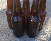 5 Glass root beer bottles, brown glass, rustic decor, glass bottles, amber recycled glass bottles, party centerpieces