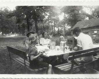 Old Photo Family Having Picnic in the Park Benches Table 1940s Photograph snapshot vintage