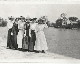 Old Photo Group of Women wearing Hats Dresses Long Skirts by Lake 1910s Photograph snapshot vintage