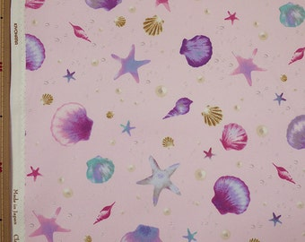 Classical and Modern Japanese Fabric  / Sea Shell Oxford Fabric Pink - 50cm x 110cm