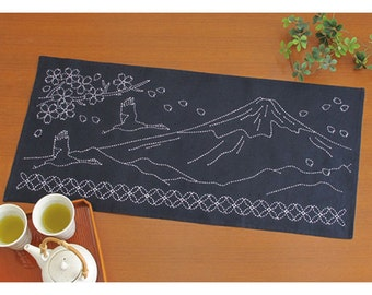 Olympus Table Center Mt Fuji Design Sashiko Kit with Cloths and Threads - Traditional Japanese Craft