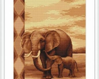 Elephants Cross Stitch Kit - Luca-s - 20.5cm x 31.5cm