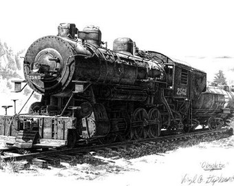 Train art, Obsolete, train art, historic train drawing, locomotive artwork, southwestern train