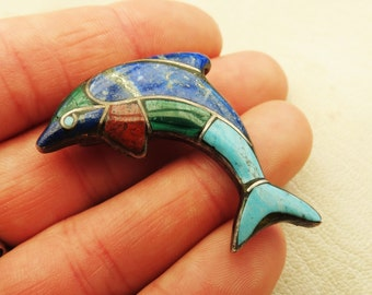 Vintage Turquoise Inlay Dolphin Pin Pendant Bolo Tie Brooche 925 Sterling Silver Malachite Lapis Pyrite Inlay Jewelry