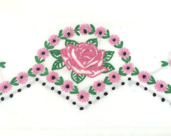 VINTAGE EMBROIDERED PILLOW Cases - Pink Roses - White Cotton - Crochet Trim