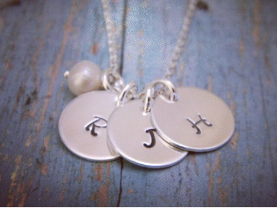 3 Sterling Silver Initial Necklace, Personalized Mother Necklace, Custom made, Hand stamped, Grandmother, Nana Necklace, Freshwater Pearl