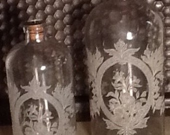 Smaller Etched Glass Bottle