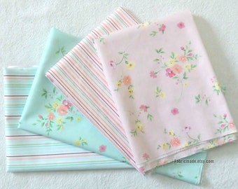 Flower Fabric, Small Pink Flower Stripes On Green Pink Cotton, Quilting Cotton Fabric  - 1/2 Yard