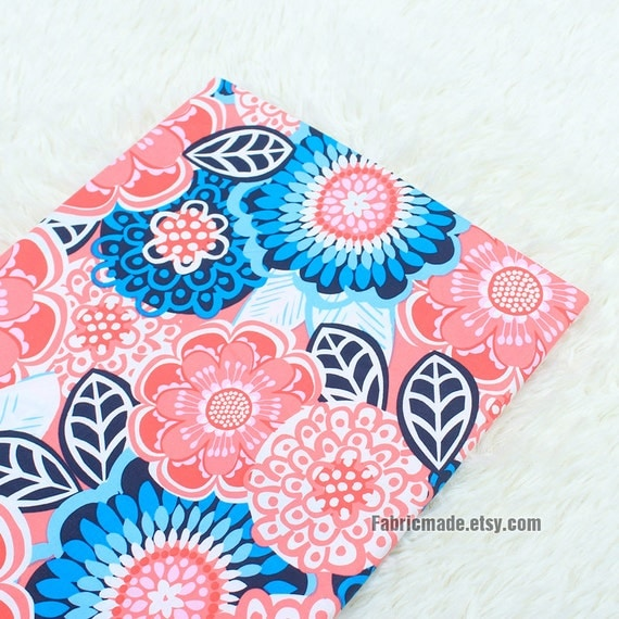 Flower Cotton Fabric, Stretch Cotton Large Pink Blue Flower Cotton Fabric, Shabby Chic Fabric- 1/2 Yard