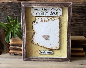 Anniversary Gift -First Anniversary Gift - Framed Map Art -  Shadow Box Decor - Custom Map Gift