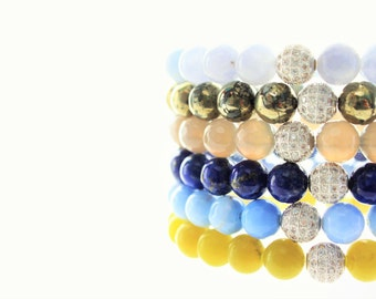 Gemstones Silver Micro Pave Stackable Beaded Bracelets