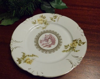 Unmarked Early Germany Porcelain Portrait Plate  (T)