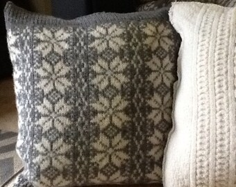 Large felted wool up cycled pillow