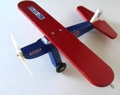 """Hand made vintage wooden Airplane, Toy, Kids, Nursery Decor, Red, White and Blue, Bi Plane, Boy's Room decor, 11"""" x 13"""", gift idea"""