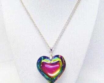 Multi-color Glass Puff Heart Pendant Necklace