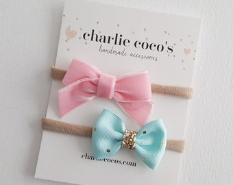 "Baby / Girls Bow Headband Set // Hair Clip Set // Baby Bow Gift Set by Charlie Coco's ""Cotton Candy"""