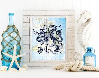 Nautical Map Octopus Art Print, Nautical Beach House Wall Art,  Antique Vintage Ocean Art Print, Mixed Media Art, Nautical Nursery,  A-1164