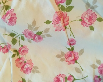 50s Pink Rose Cotton Sheet Double Fitted