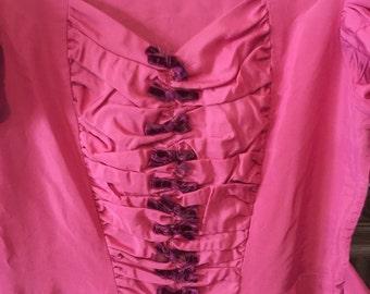 30s 40s Pink taffeta Party Dress