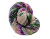 Hand-dyed Yarn - Handpainted Yarn, Fingering Mulitcolor - Sock Yarn,  Hand dyed Sock Yarn - light green, mint, black , turqoise, lilac
